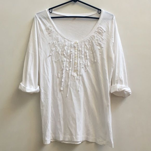 White J.Crew blouse ruffles Hanley Front ruffles. Size medium. Long sleeves that I rolled up in pic. Some underarm discoloration but bleaching will make it look brand new :) no rips. Make an offer :) J. Crew Tops Blouses