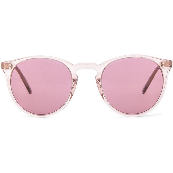 Oliver Peoples The Row O'Malley NYC Sunglasses ($505) ❤ liked on Polyvore featuring accessories, eyewear, sunglasses, glasses, pink, pink glasses, oliver peoples eyewear, pink lens sunglasses, acetate sunglasses and acetate glasses
