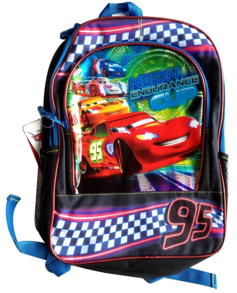 dbb84c75b0b Disney Pixar Cars 2 16 inch Backpack Bookbag Neon Endurance Cup  Backpack