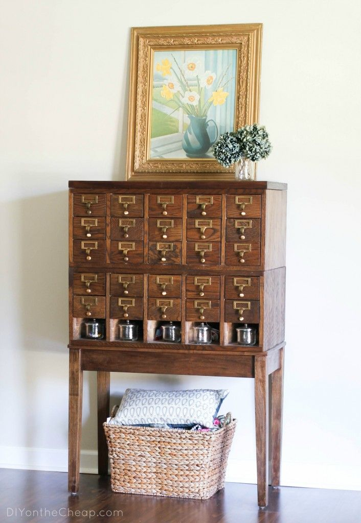 Check Out The Story Behind This Library Card Catalog You Have To See The Before And Aft Library Card Catalog Card Catalog Cabinet Library Card Catalog Cabinet