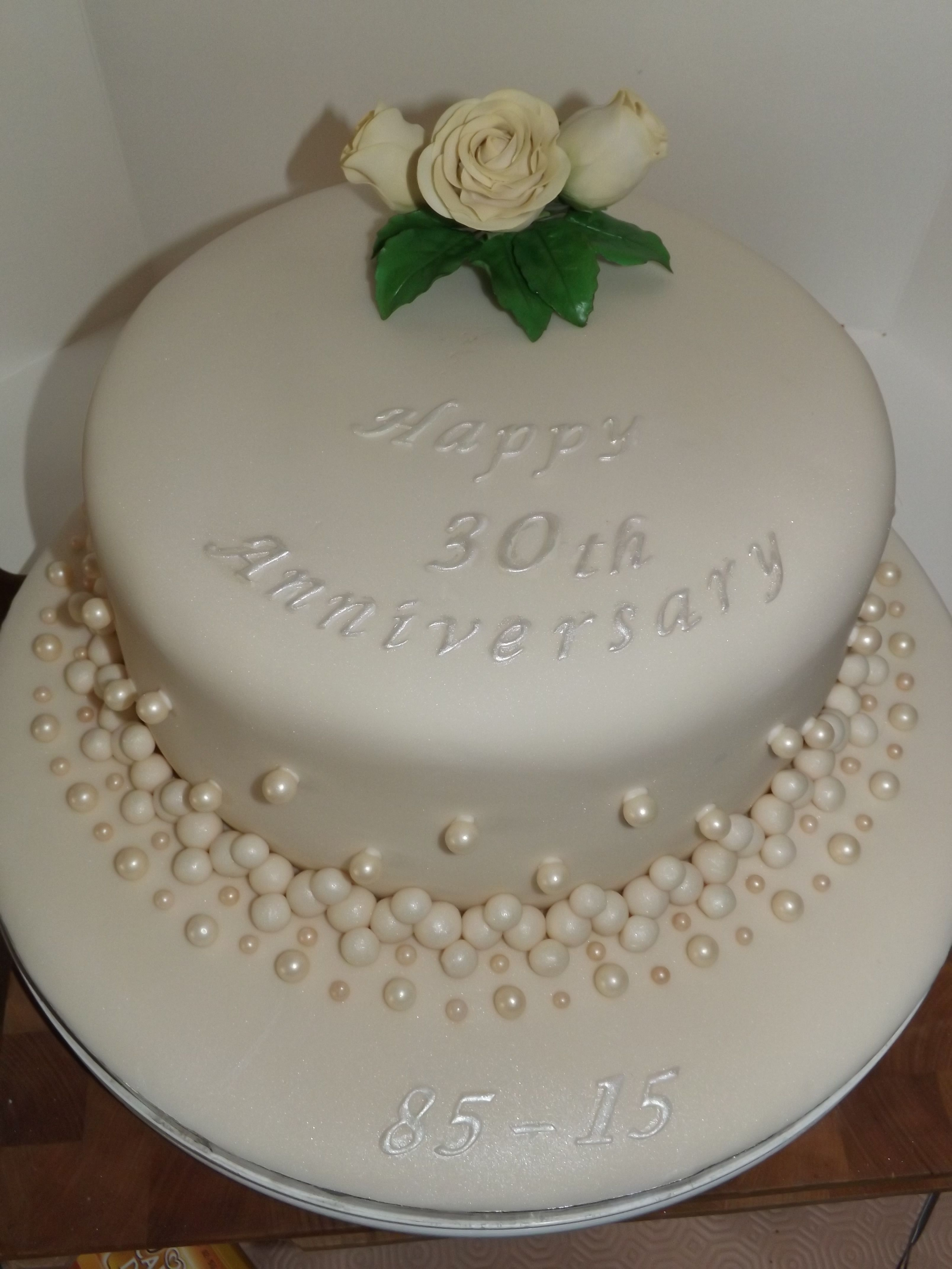 Pearl 30th Wedding Anniversary Cake With A Cream Sugar Rose Spray And Pearls