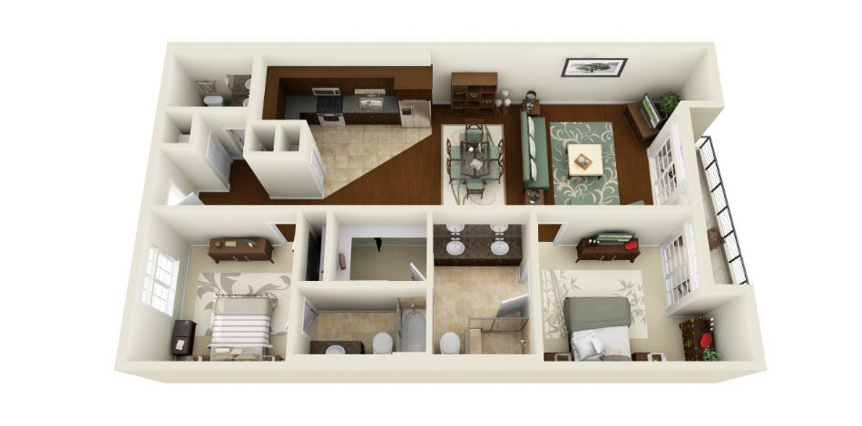 two bedroom apartment apartment design pinterest two bedroom apartments bedroom apartment and apartments awesome 3d floor plans