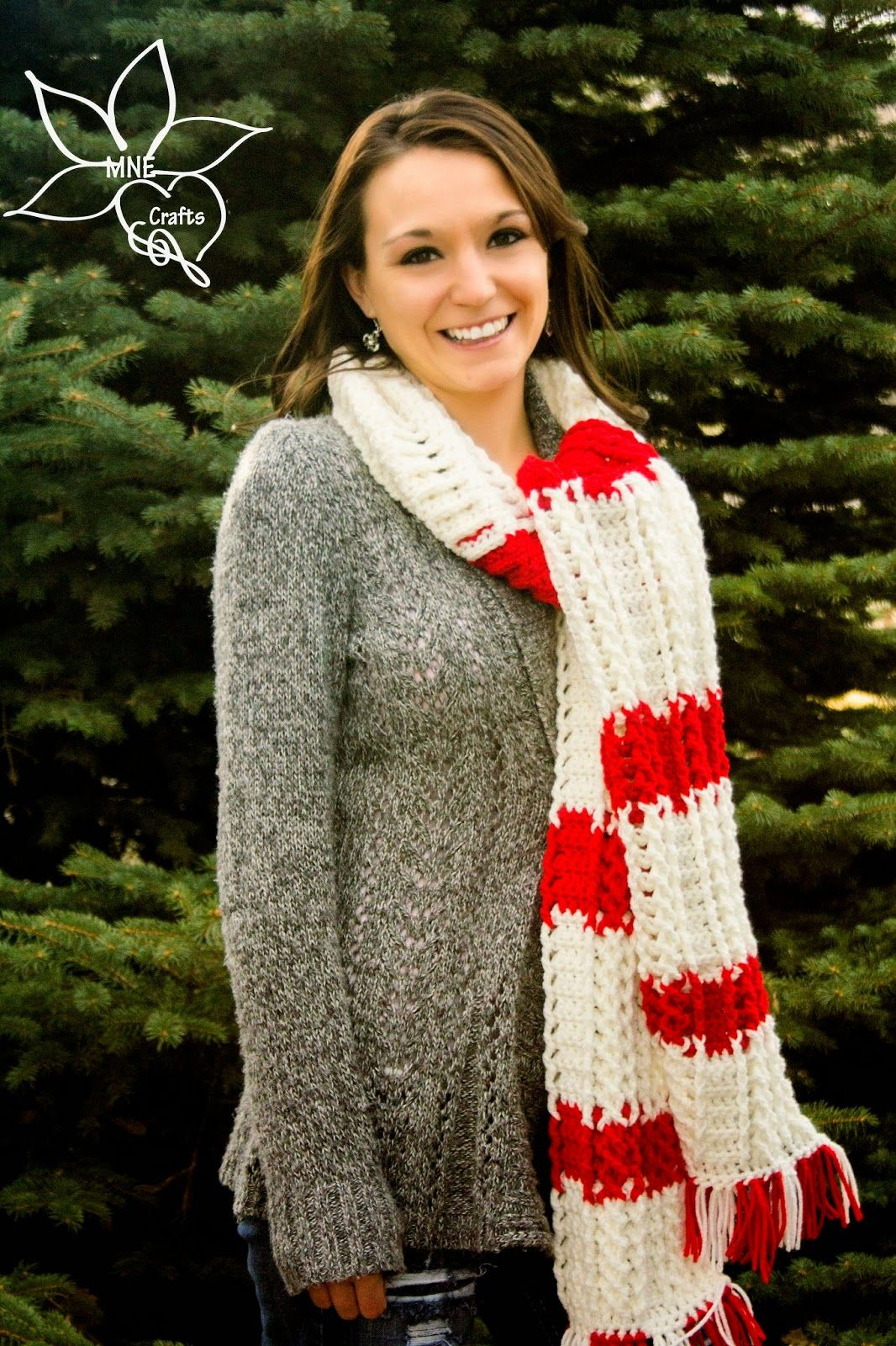 Mne Crafts Candy Cane Cables Scarf Free Crochet Pattern