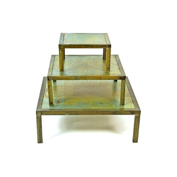 Set of 3 Square Verdigris Tables design by Skalny ($295) ❤ liked on Polyvore featuring home, furniture, tables, accent tables, 3 piece table, square table, square accent table and set of 3 tables