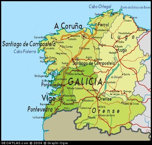 Galicia Mapa De Galicia A Coruña España