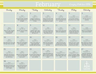 Concordia Publishing House: February 2016 Everyday Faith Calendar