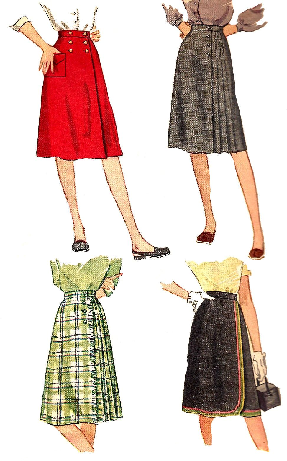 Essay 1940 S Fashion: 1940s Skirt Pattern Unprinted Simplicity Vintage Sewing