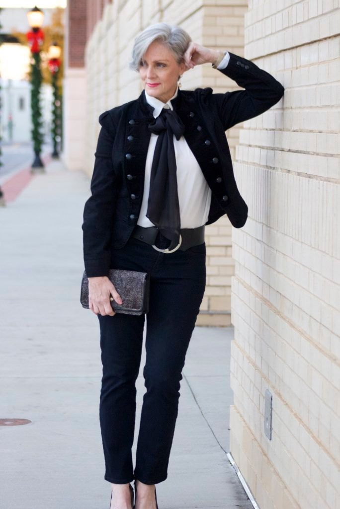 Mature ladies wearing shirt and tie