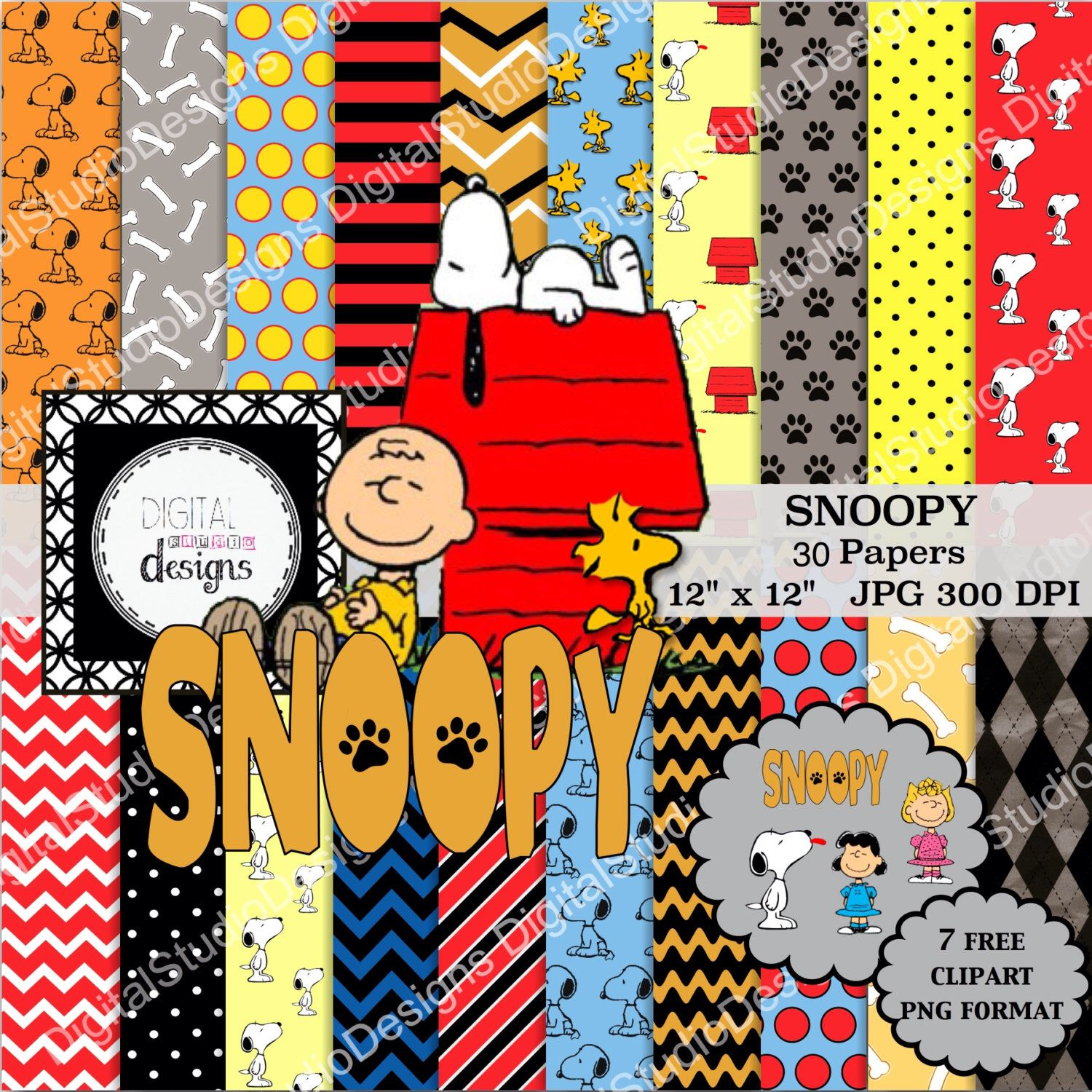 Snoopy Paper Pack 30 Papers 7 Clipart Charlie Brown Peanuts