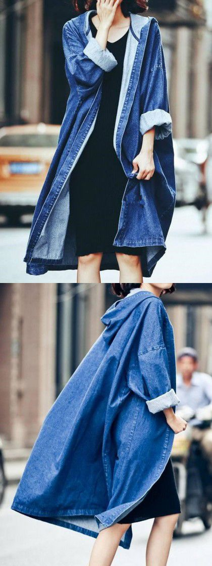 Love this causal style denim coat. Choose one to make a wonderful look.