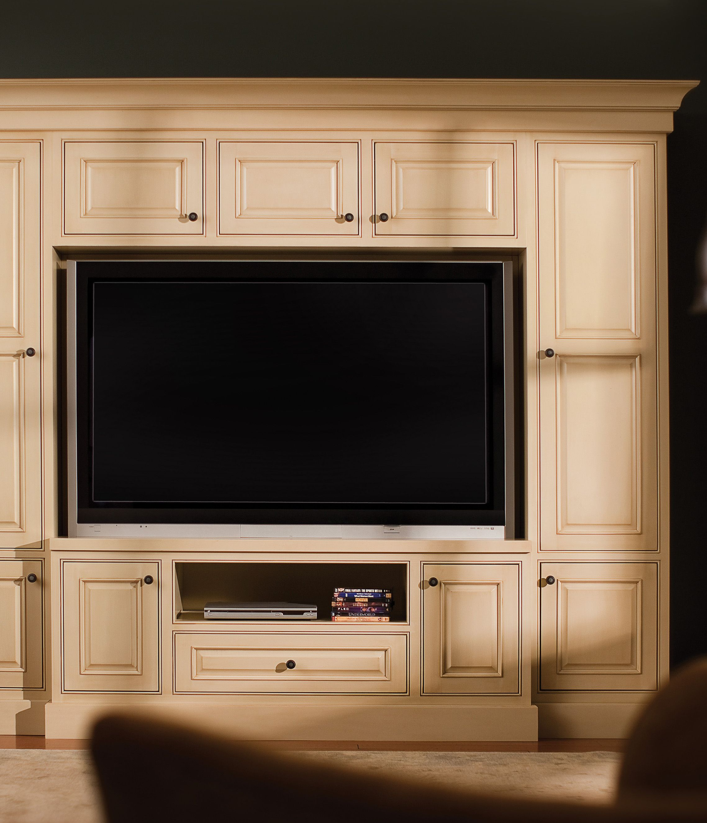 This Dura Supreme Entertainment Center Is Shown With The Chapel Hill Classic C Entertainment Center Custom Entertainment Center Cabinet Door Styles
