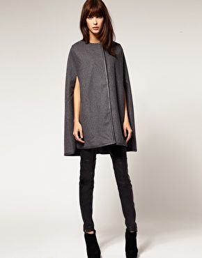 Selected Collarless Cape Coat in Wool