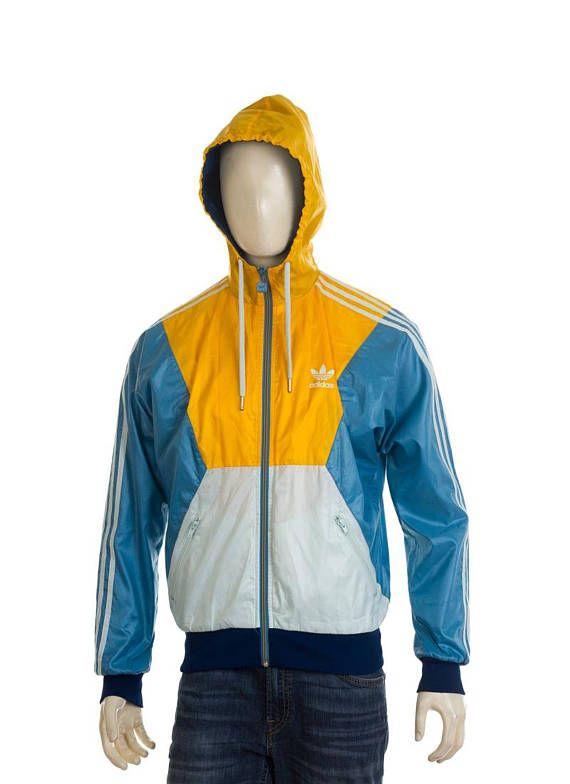 Adidas Trefoil windbreaker jacket whiteblue yellow Size S