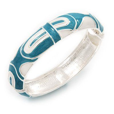 Avalaya Turquoise Coloured Enamel 'Leaf' Hinged Bangle In Gold Plated Metal - 18cm Length fzwCbptuL