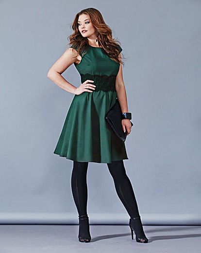 AX Paris Forest Green Lace Waist Dress | Simply Be