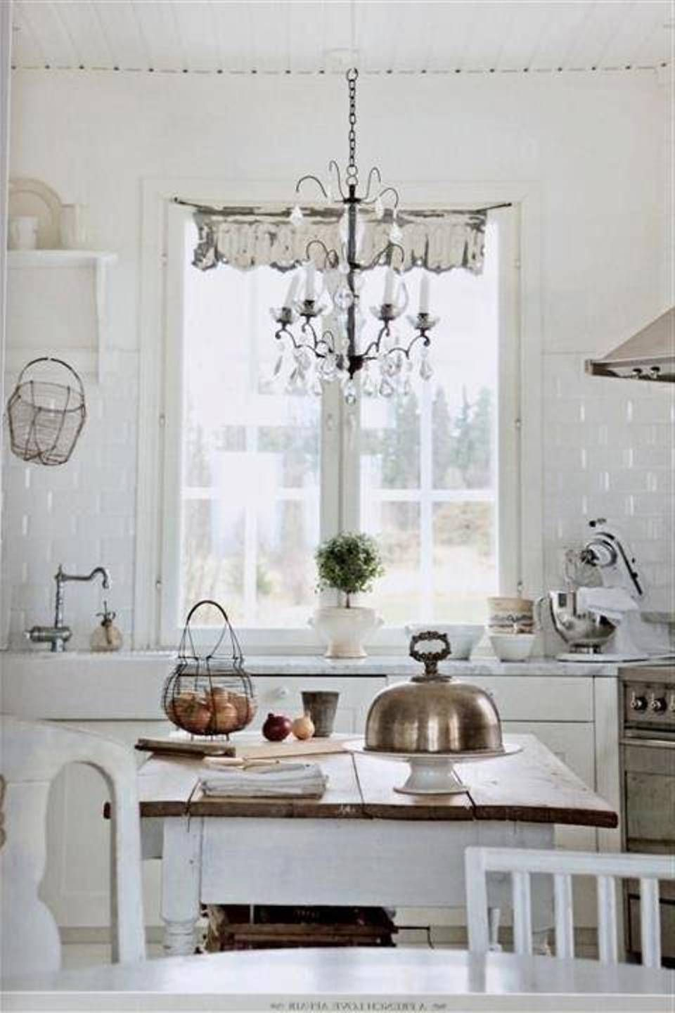 Shabby Chic White Kitchen With Chandelier Lighting