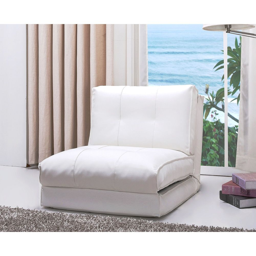 Abbyson Jackson White Leather Single Sleeper Chair