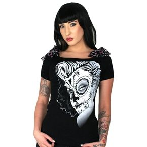 Too Fast Annabel Bow Blue Skulls Shirt Top Pinup Day Of The Dead Hot Los Muertos