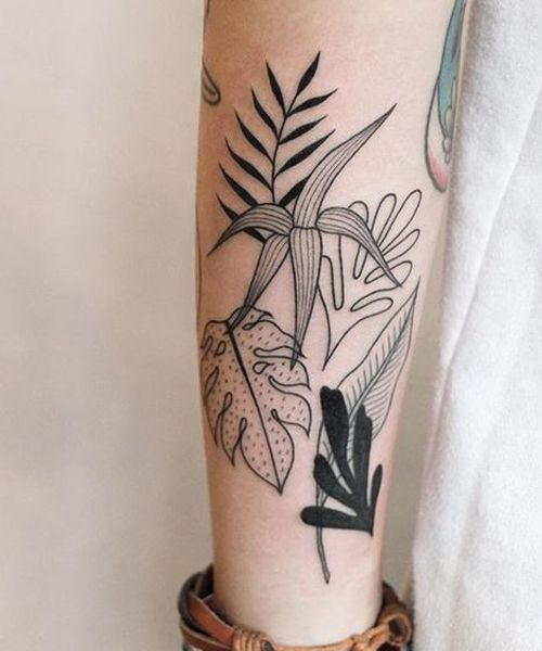 cb2057c91576c Attractive Palm Leaf Tattoos on Lower Leg | Body Mods. | Tattoos ...