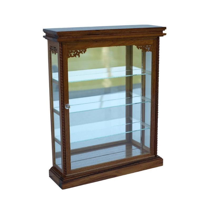 Small Wall Curio Cabinet Shelf Display Case Wall Hanging Etsy In 2020 Wall Display Case Display Shelves Small Wall