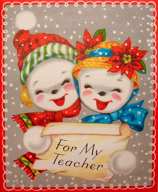 Teachers Christmas Card Vintage Christmas Card Retro Christmas