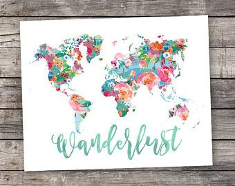 Printable art wanderlust world map floral watercolor world map printable art wanderlust world map floral watercolor world map geography print travel gumiabroncs Image collections