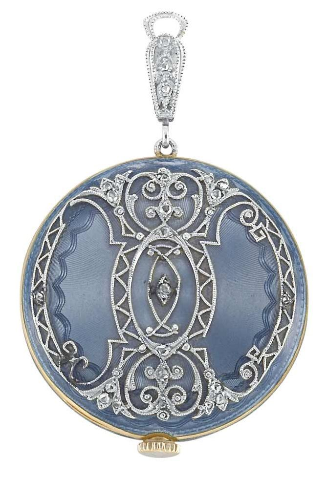 0a5f6a06021fb Edwardian Platinum, Gold, Blue Guilloché Enamel and Diamond Pendant-Watch,  Tiffany & Co. Dial signed Tiffany & Co., Switzerland, case & movement  signed ...