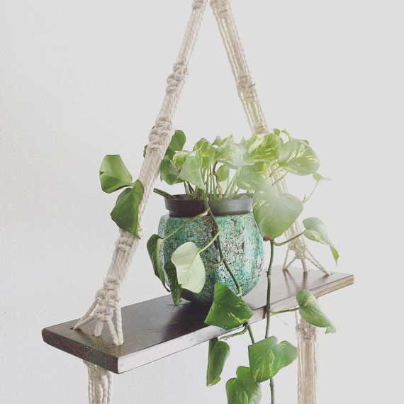 Pine Triangle Macrame Hanging Shelf by TheZigZagWanderer ...