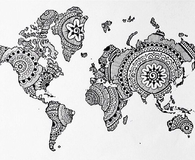 world map drawing art mandala  mandala zum ausdrucken