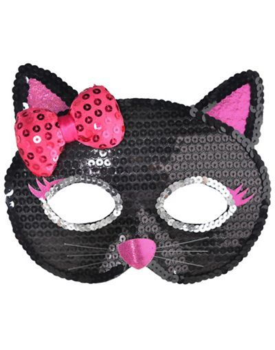 Child Sequin Black Cat Mask - Party City Halloween Ideas - party city store costumes