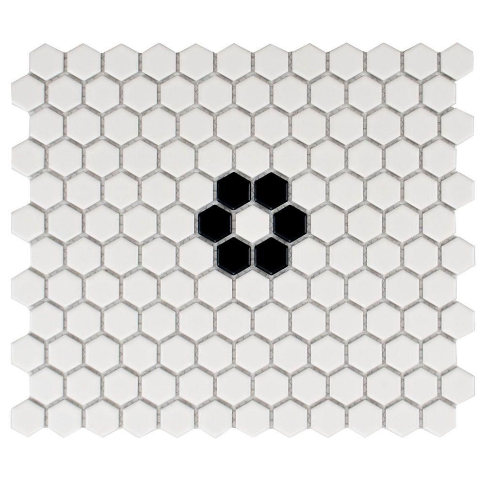 Merola Tile Metro Hex Matte White With Single Flower10 1 4 In X 11 3 4 In Porcelain Mosaic Floor And Wa Porcelain Mosaic Tile Porcelain Mosaic Mosaic Flooring