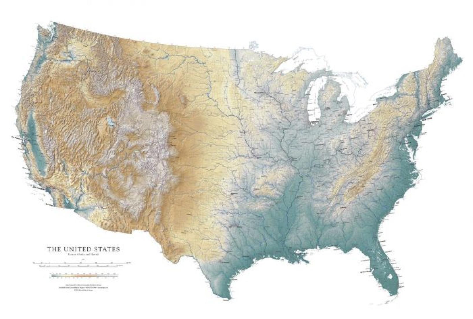 united states except alaska and hawaii laminated wall on laminated wall maps id=76879
