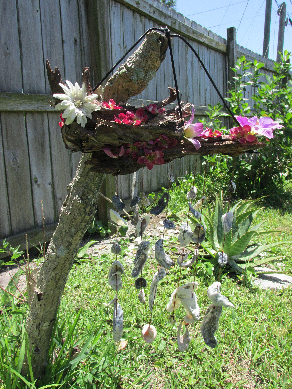 Natural driftwood flower boat seashell wind chimewall art by