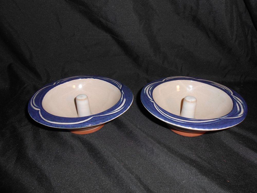 Set of 2 Original Apple Baker Dishes Paris Maine Pottery Tan Blue #OriginalAppleBakerdishes & Set of 2 Original Apple Baker Dishes Paris Maine Pottery Tan Blue ...