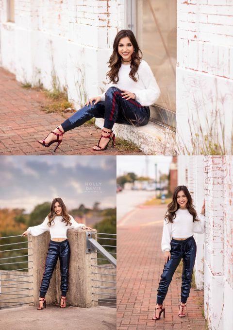 Sequin Joggers Crop Sweater Parking Garage Senior Pictures Glam