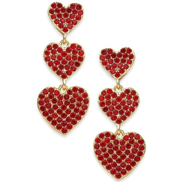 Kate Spade New York Rose Gold Tone Pave Heart Triple Drop Earrings 78
