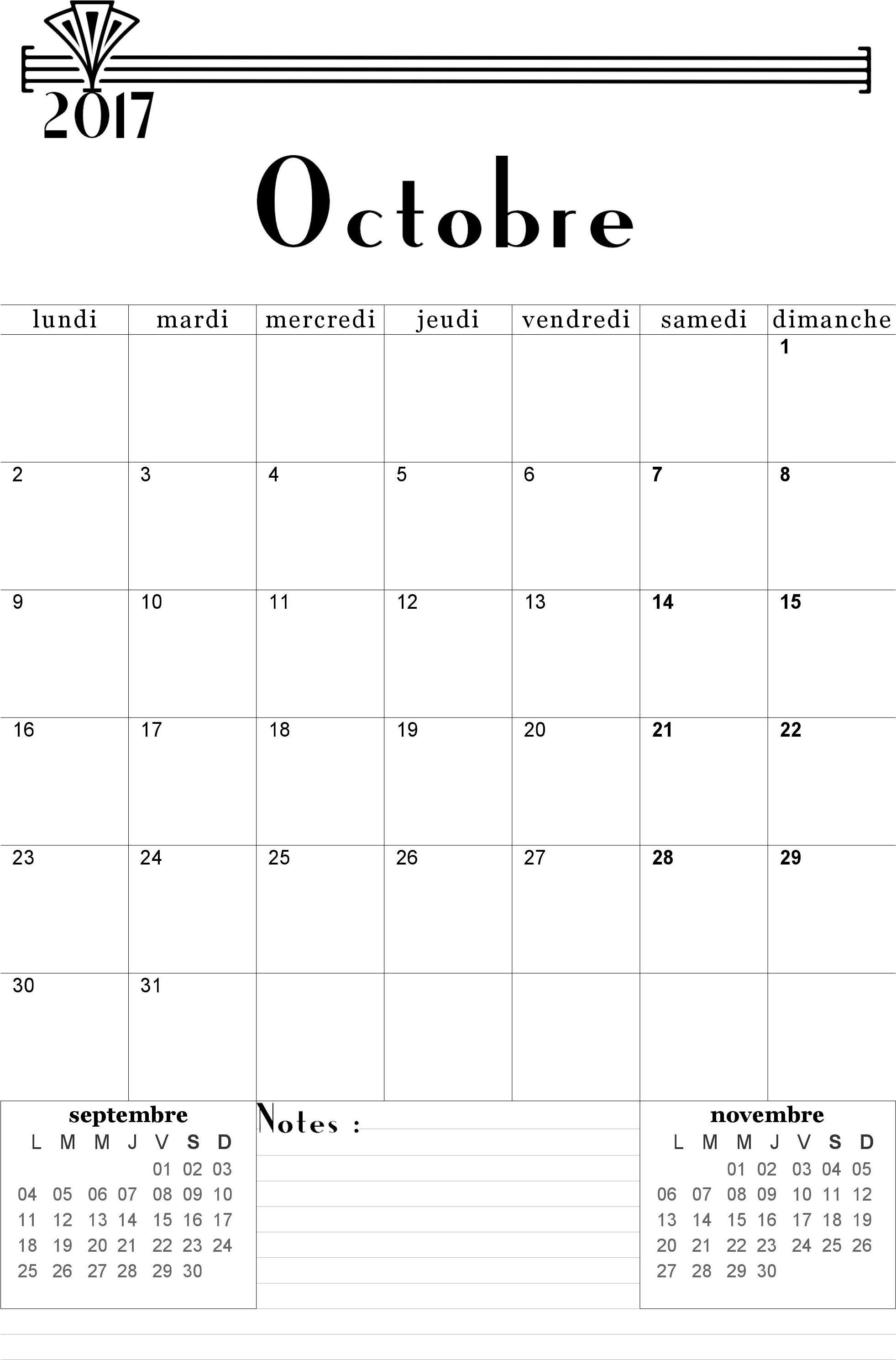 Calendrier octobre 2017 à imprimer gratuitement en format