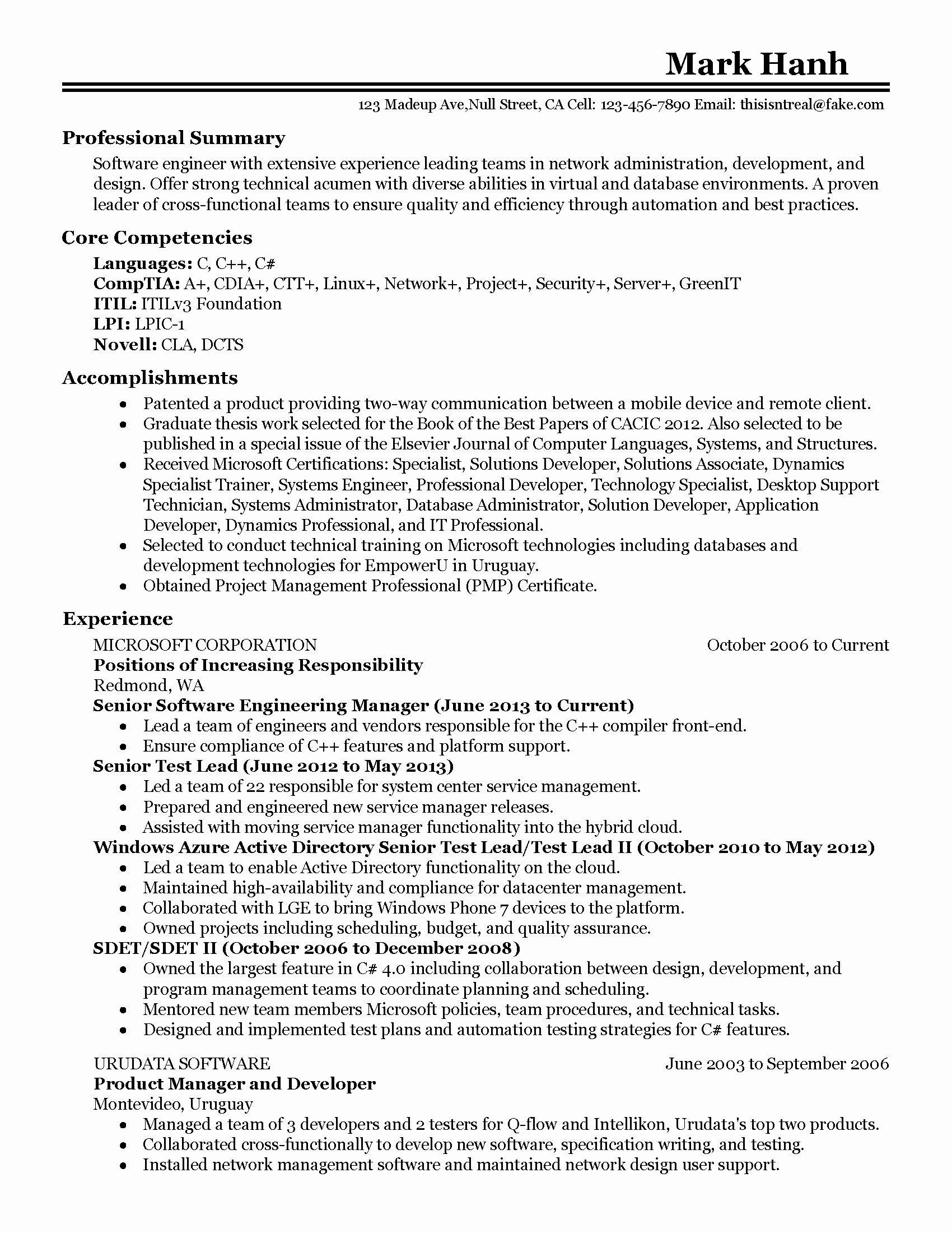 Engineering Manager Resume Examples New Professional