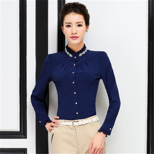 c640b79bfac20 Mujeres del resorte camisa elegante estilo coreano de manga larga del mono  Tops oficina ropa mujer Blusas Feminina camisa de la blusa para mujer Tops