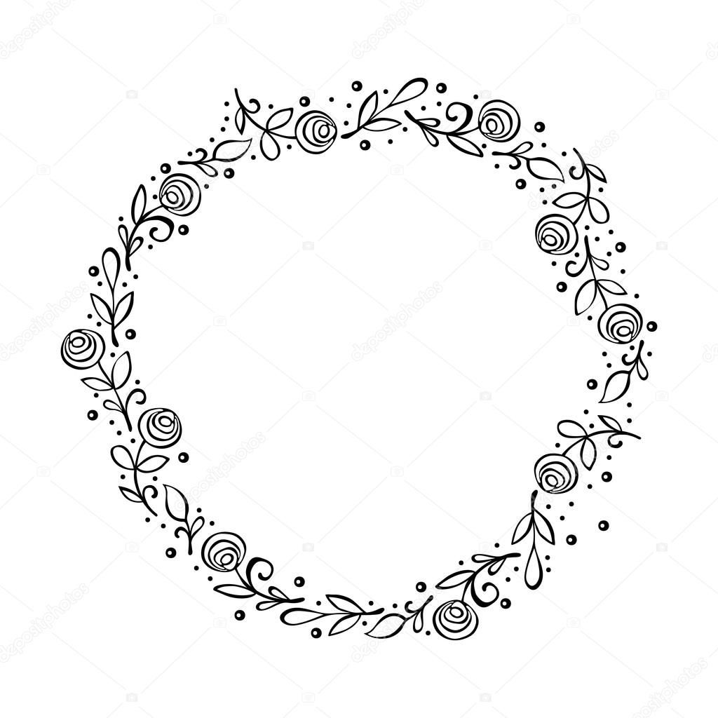 Photo of Download – frame – wreath. Doodle flower frame. Roses. Isolated on white background …
