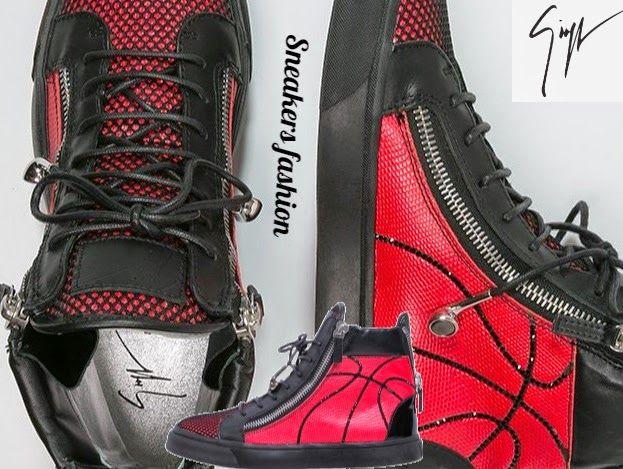 Fashion World: Giuseppe Zanotti Höga sneakers - fragola / Poplulä...