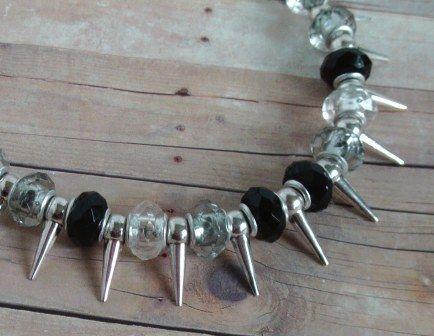 Bead and Spike Necklace, Large Black, Clear, Smoky Beads - $20.00 - Handmade Jewelry, Crafts and Unique Gifts by Metal Ivy Jewelry Designs