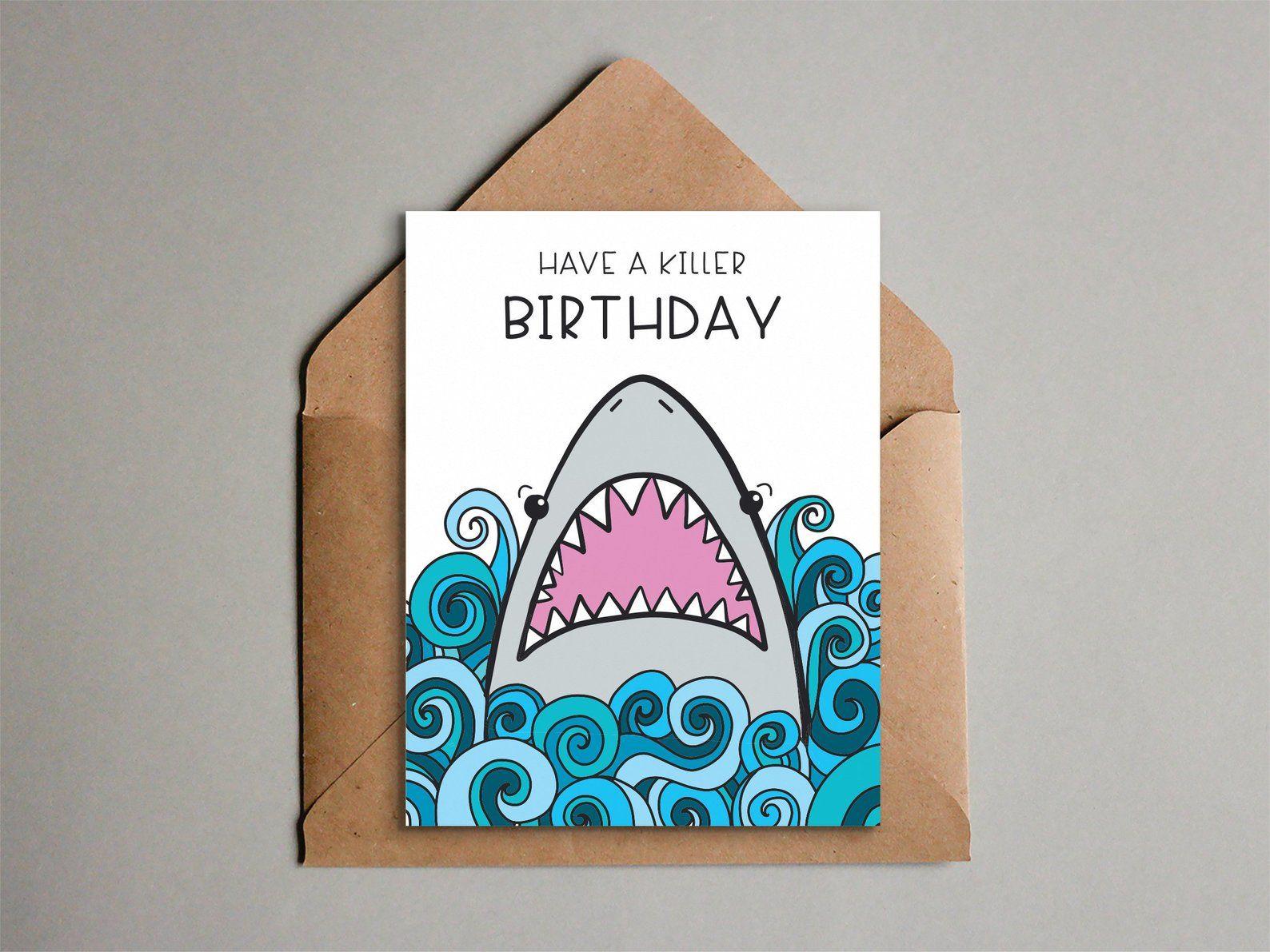 Fun Shark Birthday Card Printable Shark Card For Kids Etsy Birthday Card Printable Birthday Card Drawing Funny Birthday Cards