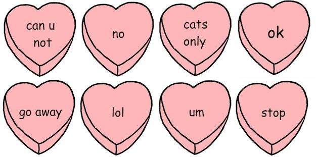 BWAHAHA! For those looking for an alternative to candy hearts ...