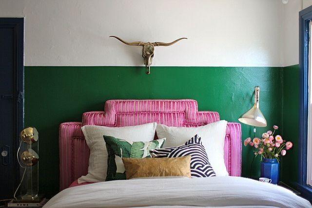 Green wall Pink headboard mixology of pillowsyes please