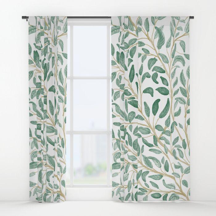Green Leaf Pattern Window Curtains By Chotnelle Society6 Leaf