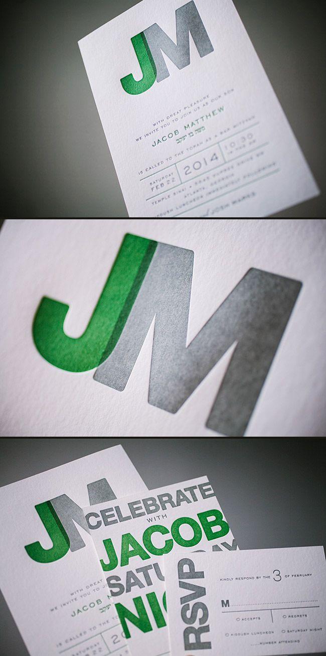 modern letterpress bar mitzvah invitations with a cool monogram