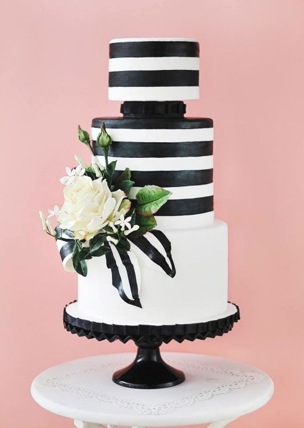 Chic And Modern Black And White Wedding Cakes Stripes Theme