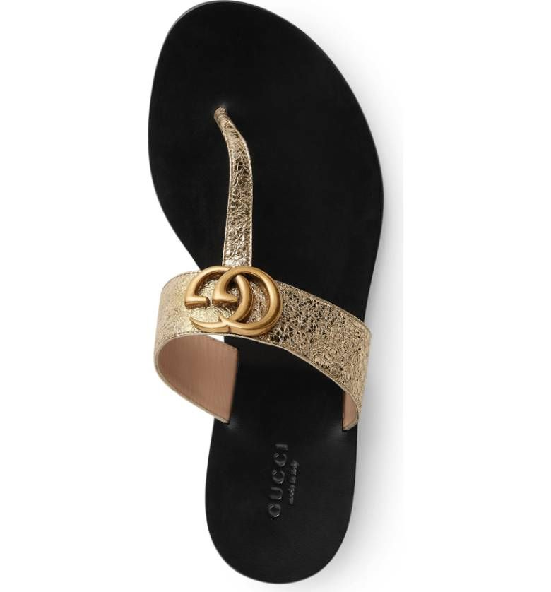 d3e02265da98 Main Image - Gucci Marmont T-Strap Sandal (Women). An interlocked-initial  logo ornament boldly brands the wide instep strap of a chic thong sandal  set on a ...
