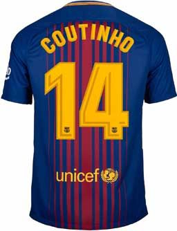 3f8b4bcf05c Nike Kids Philippe Coutinho Barcelona Home Jersey 2017-18 | SoccerMaster.com